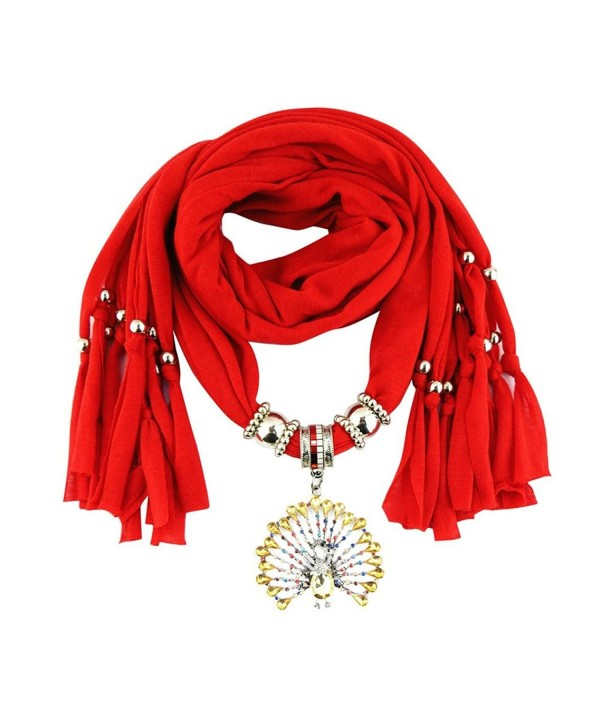 Deamyth Women Pendant Scarves Peacock Rhinestone Crystal Pendent Jewelry Scarf - Red - CA12O4UE2G6