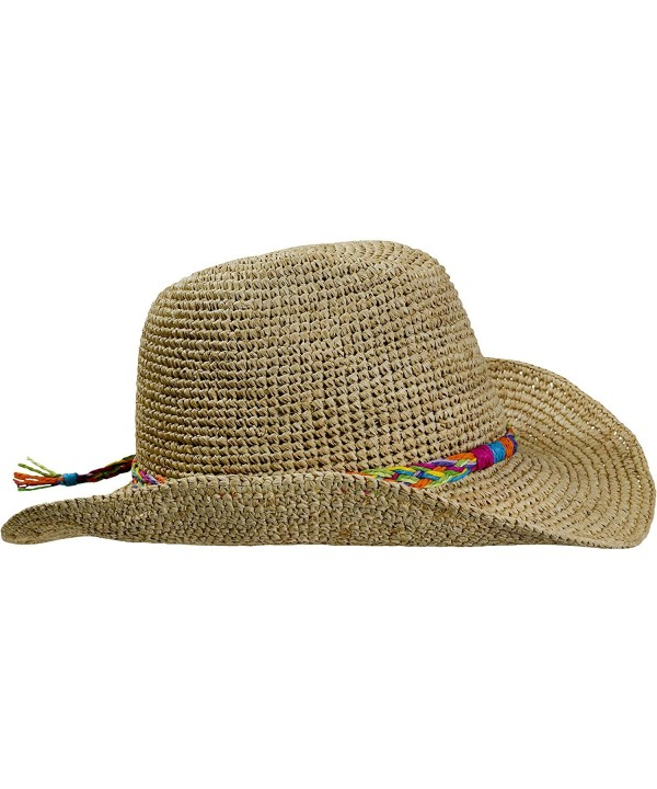 Turtle Fur Straw Beach Cowboy Wired Brim Summer Sun Hat Vermont Collection Sun Style - Tropical - CZ11YXPOMFJ