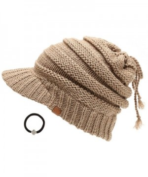 D&Y Women's Beanie Tail Cable Knit Visor Ponytail Beanie Hat With Hair Tie. - Taupe - C318882YKOO