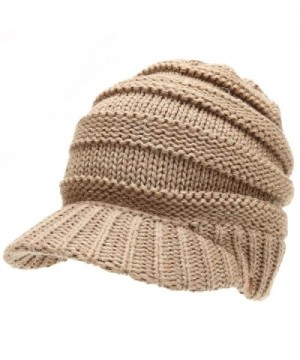 Womens Beanie Cable Visor Ponytail