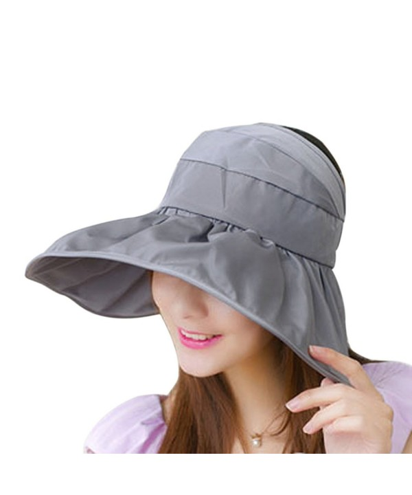 Women's UV Sun Protective Visor Summer Wide Brim Sun Hat Floppy Fold Beach Hat - Grey - CC12DOPKQIZ