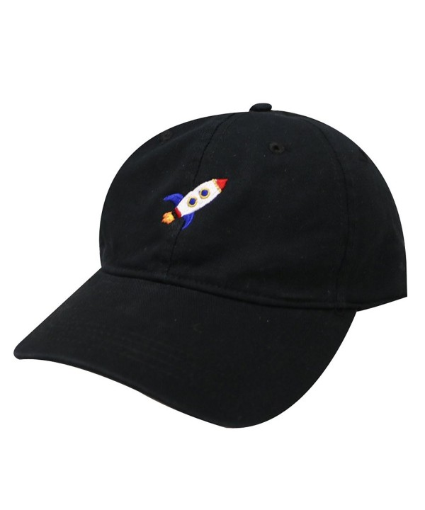 City Hunter C104 Rocket Cotton Baseball Dad Caps 17 Colors (Black) - C712O41K4UW
