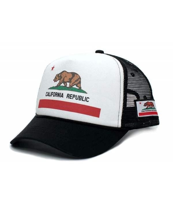 Califirnia Flag Custom California Republic State Flag Cali Unisex-Adult Trucker Hat Multi - Black/White - C012J1O9VAL