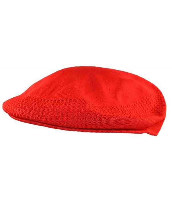 MLN Men's Mesh Ivy Cabbie Cap Red - C511WD7XT0D