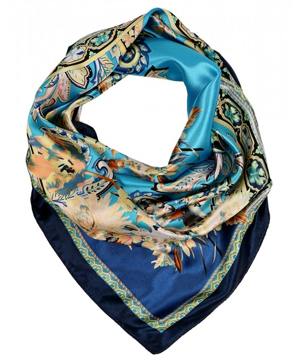 Love Lakeside Women's Satin Large Square Silk Feel 35 x 35 inch Classic Scarf - Teal Blue 2 - C7182ZTYXAA