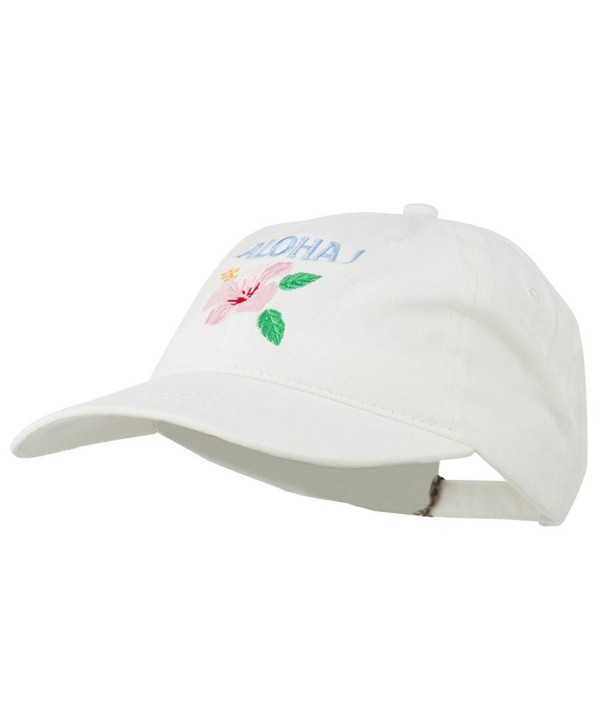 Hawaii Flower Aloha Embroidered Washed Cap - White - C111RNPILTJ