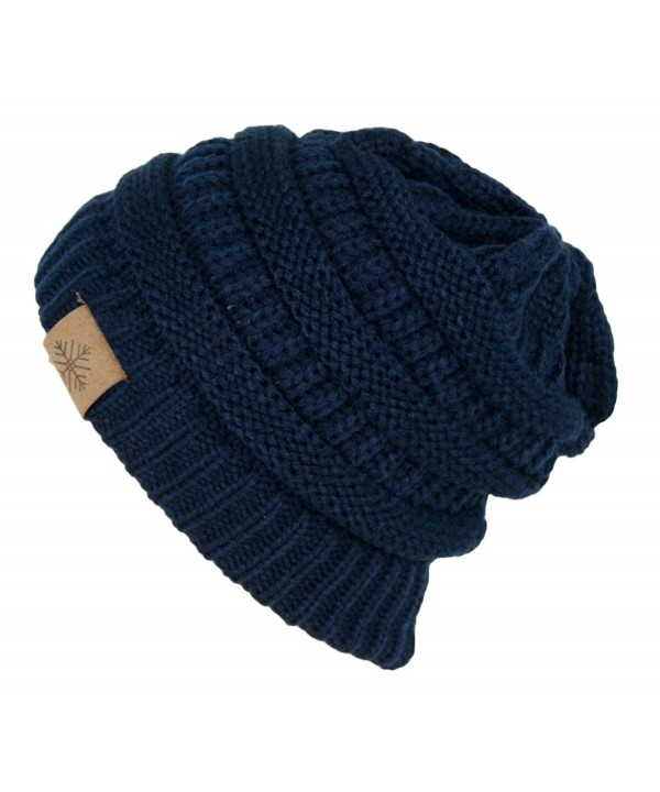 ANGELA & WILLIAM Winter Warm Thick Cable Knit Slouchy Skull Beanie Cap Hat - Navy Blue - C6126RND9JT