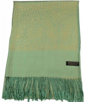 CJ Apparel Paisley Pattern Design Shawl Pashmina Scarf Wrap Stole Throw Seconds NEW - Green & Gold - CP1267RUX71
