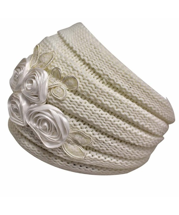Luxury Divas Ribbed Knit Headband With Floral Design - Ivory - C011G4LOD7H
