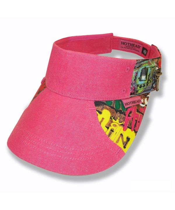 Hothead Wide Brim Sun Visor Hat in Graffiti with Pink Denim - CI11KF447AV