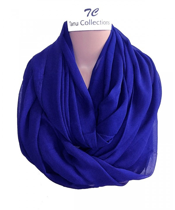 TC Solid Color and Print Soft Lightweight Chiffon Silk Feel Luxury Infinity Scarf - Royal Blue - CC189N3RELN