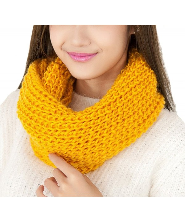 Easy Lifestyles Women's Fashion Autunm Winter Warm Thick Wool Knitted Scarf Collar Shawl (Yellow) - CR127R5X31Z