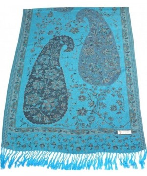 Jammu Design 2 Ply Reversible Pashmina Shawl Scarf Wrap CJ Apparel NEW - Turquoise - C6116UB8MI7