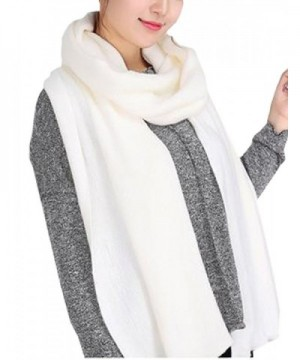 Wander Agio Women's Warm Long Shawl Winter Warm Large Scarf Pure Color - White1 - CK186K0NY4O