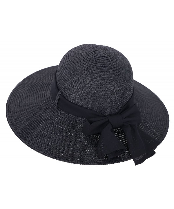 Simplicity Women's Wide Brim Summer Beach Sun Straw Hats - 280_black - CM12J7OBJ3D