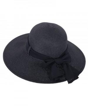 Simplicity Women's Wide Brim Summer Beach Sun Straw Hats - 280_black - CM12J7OBJ3D