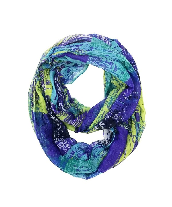 Wrapables Lightweight Voile Infinity Scarf - Green Purple - CW1865377GU