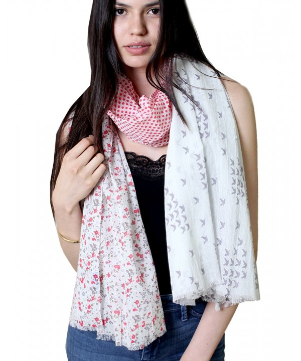 Anika Dali Women's Nora Polka Dot Birds Floral Cotton Scarf (White- Pink- Grey) - CB11DTYQBK9