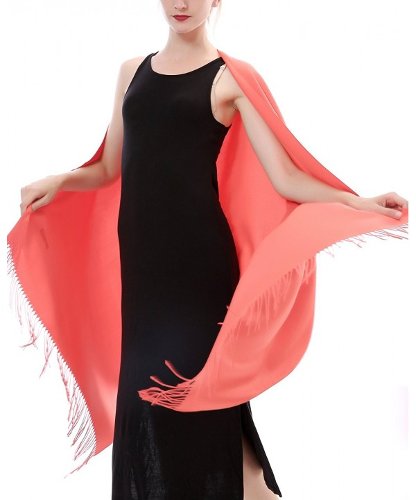 Aolige Super Soft Cashmere Blanket Winter Scarf with Tassel Solid Color Warm Shawl for Women - Orange - CT1868Y2U67