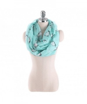 Cute Cartoon Penguin Printed Infinity Scarf Lightweight Cute Soft Circle Eternity Silk Scarves - Blue - CF1888MOYUZ
