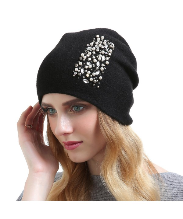 QUEENFUR Womens Wool Hat - Winter Cashmere Caps Oversized Beanies With Rhinestones Ski Hats - Style2-black - CN187CTIKOC
