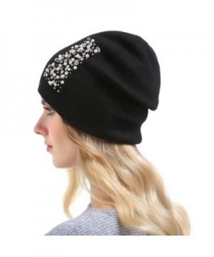 Womens Cashmere Hats Rhinestones Oversized in Women's Skullies & Beanies
