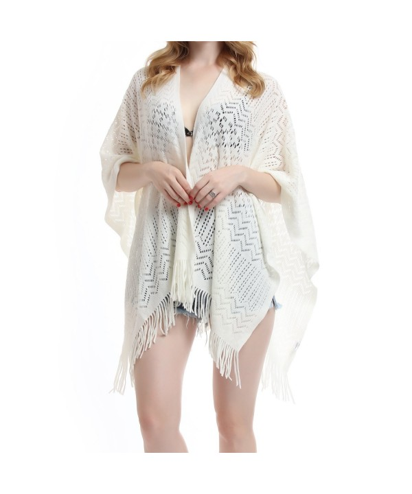 Knit Shawl Wrap for Women - Soul Young Ladies Fringe Knitted Poncho Cardigan Cape - Cream White - C1184EWUM87