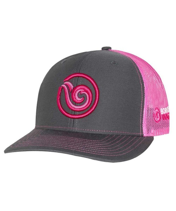 Born of Water Signature Puff Trucker Hat: Scuba Dive | Freediving | Spearfishing - Pink - C312O1QNECV