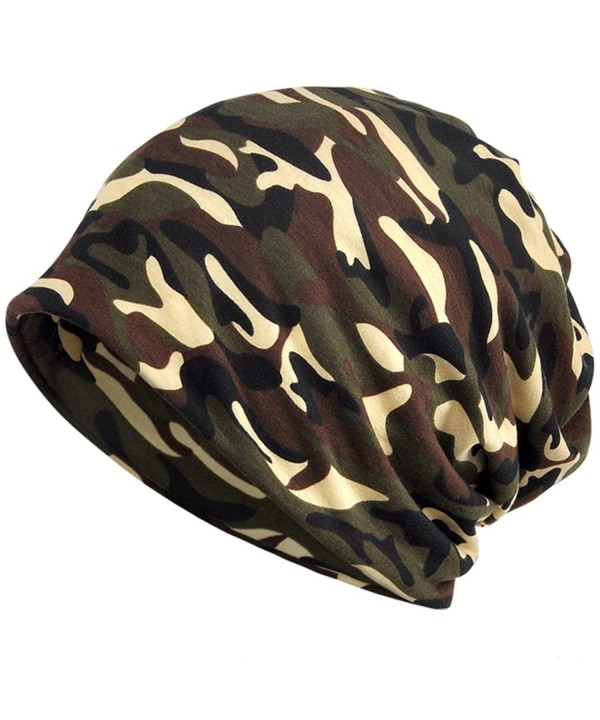 KUYOU Women's Multifunction Camouflage Hat Skull Cap Scarf - Brown - CG1880NATIO