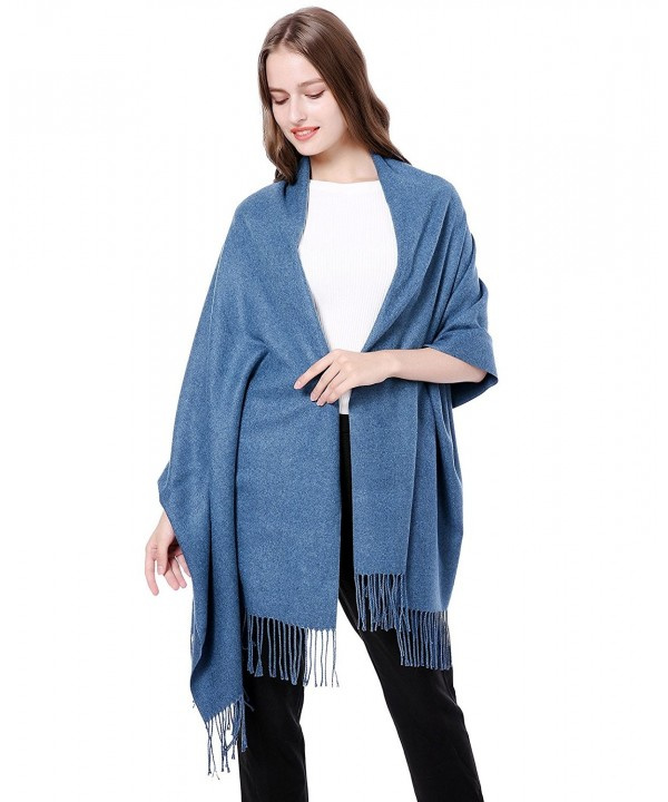 Cashmere Virgin Wool Thick Pashmina Scarf Soft Warm Long Shawl Scarves Wrap /Gift Box JAKY Global - Denim Blue - CB185M2Z9Y7