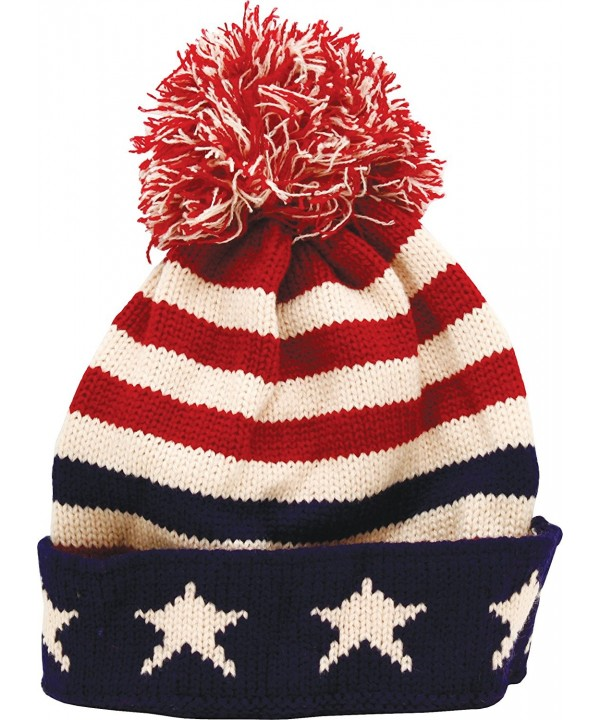 True Gear North Patriotic Pom Beanie USA Flag Colors - C212O9V7M3V