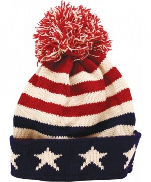 True Gear North Patriotic Pom Beanie USA Flag Colors - C212O9V7M3V