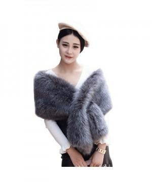 Xoemir 2017 Women Evening Fox Fur Bridal Cape Wedding Shawl Stole Winter Scarves - Style2 Dark Grey - C218957TTRC