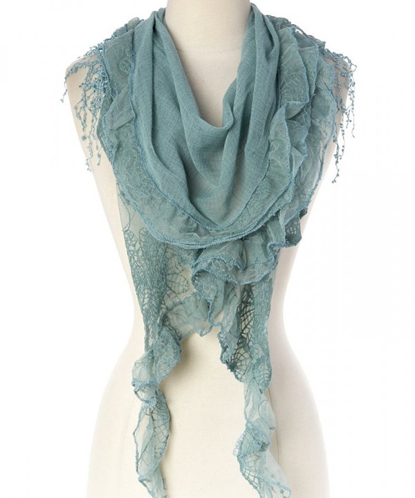 Women's Lightweight Fringe Oblong Scarf - Light Green - C211Y5K5693
