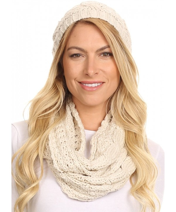 Sakkas Haile Metallic Threaded Woven Classic Hat Beanie And Infinity Scarf Set - Beige - CG12L6X0A9L