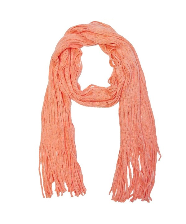 Wrapables Warm Long Scarf with Tassels - Peach - CP11HVVMF5L