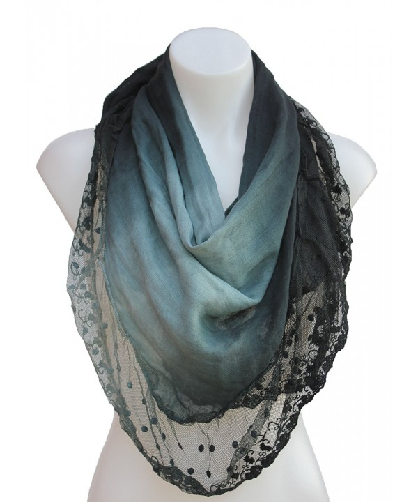 Terra Nomad Women's Vintage Inspired Ombre' Triangle Scarf with Sheer Lace Trim - Black Ombre' - CZ110FUEQ93
