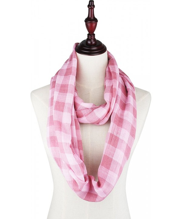 Vivian & Vincent Soft Light Plaid Check Sheer Scarf Shawl Wrap - 17 Cg Pink - CO188YX9H0S