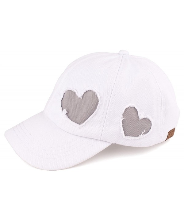 Funky Junque's Women's C.C Soft Cotton Heart Glitter Star Adjustable Baseball Cap - Heart/White - CP17YHRQ33T