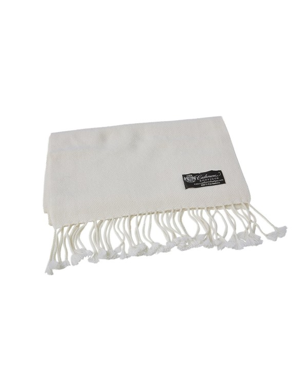Pure Cashmere Scarf with Tassels - White - CX11B21CWZJ