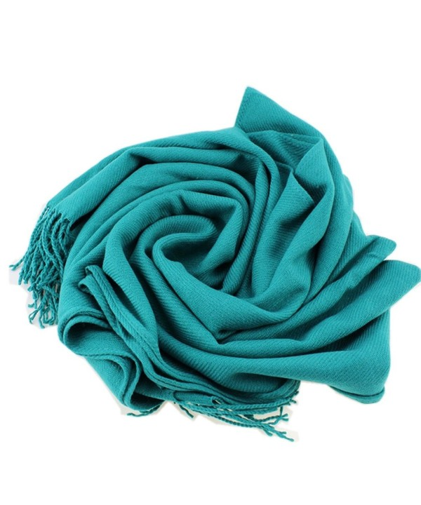 Dosoni Women Soft Pashmina Scarf Solid Color Long Shawl Wrap with Fringe - Lake Blue - C412N1R3A9I
