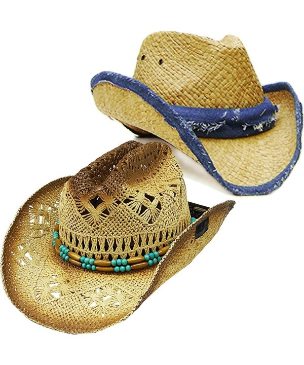 "Modestone Value Pack 2 X Light Party Straw Cowboy Hats ""Sizes For Large Heads"" - C7184AOA5T8"