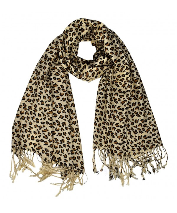 Peach Couture Animal Leopard Print Sheer Scarves Summer Shawls Wraps Fringes - Tan - CY188HEA3RU