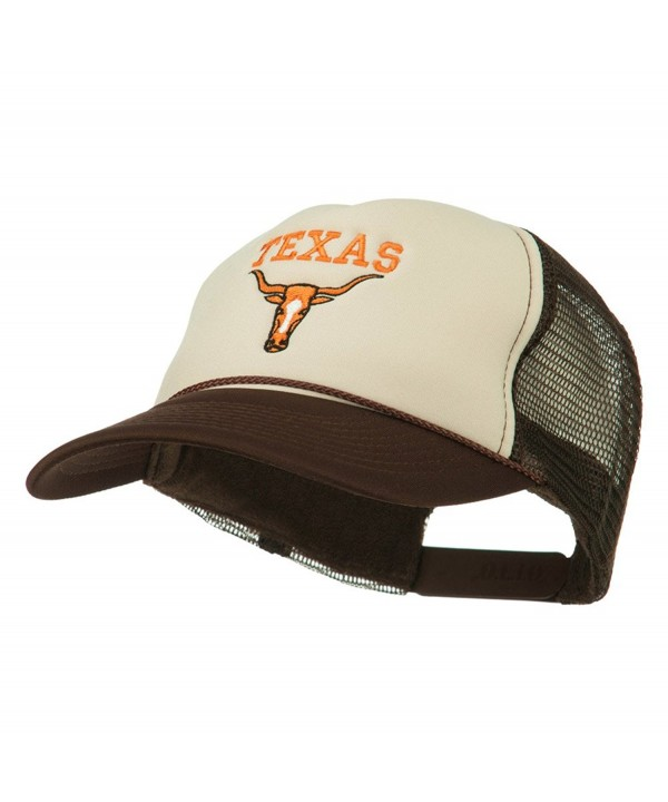 Texas Longhorn Embroidered Foam Mesh Cap - Brown Tan - C011ND59OEJ
