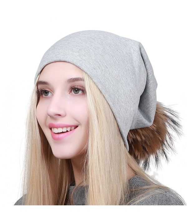 GEEBRO Women Winter Pom Pom Beanie Hat With Soft Slouchy Snow Knit Cotton Skull Cap - Lightgray - CO188YG0QGA