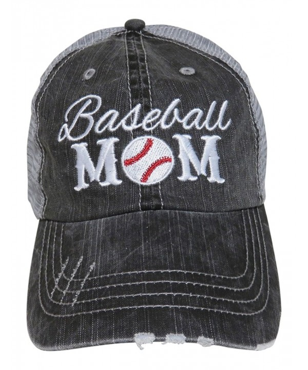 Embroidered Sports Mom Series Distressed Look Grey Trucker Cap Hat Sports (Baseball Mom) - CM12MXCTP4A