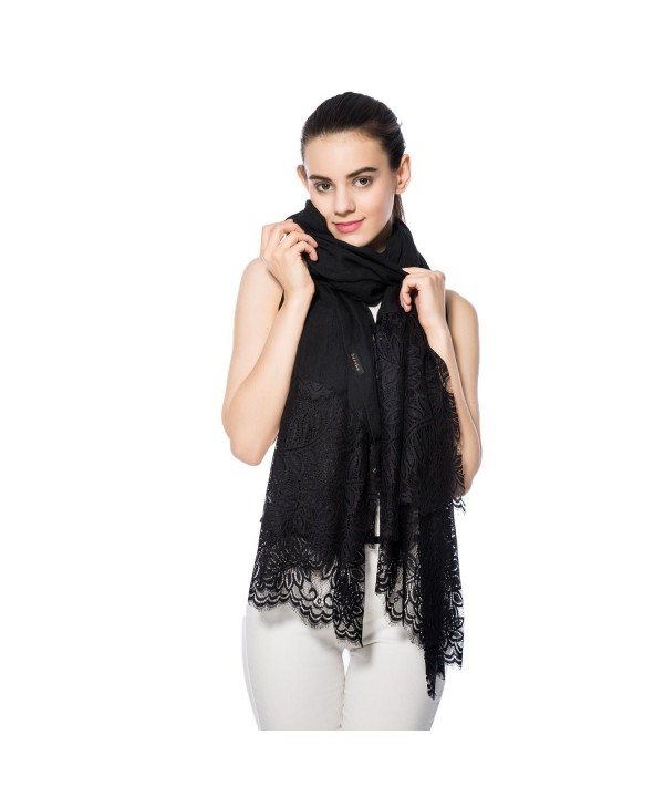 Women Lightweight Fashion Lace Scarf Solid Color Wrap Shawl Gzcvba Soft Evening Coverup - Black - CJ182GZ0YXQ