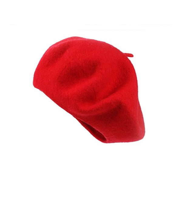 Clothink Women Or Men 100% Wool Solid Berets French Beret Many Colors Available - Red - CG1202H05NJ