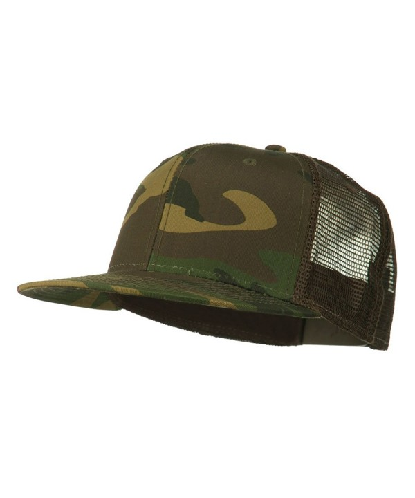 Camouflage Cotton Flat Bill Trucker Cap - Brown Camo - C711UU7DE4J