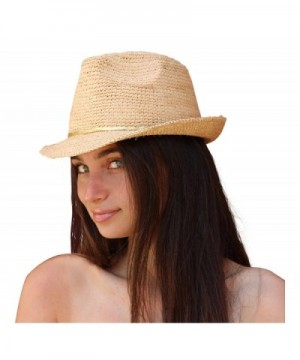 Palms & Sand Melrose Fedora Women's Sun Hat- Beach Hat (Natural) - CZ12HG5P0LR